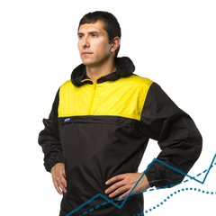 Anorak Windbreaker Jacket, Black-yellow, S, 180